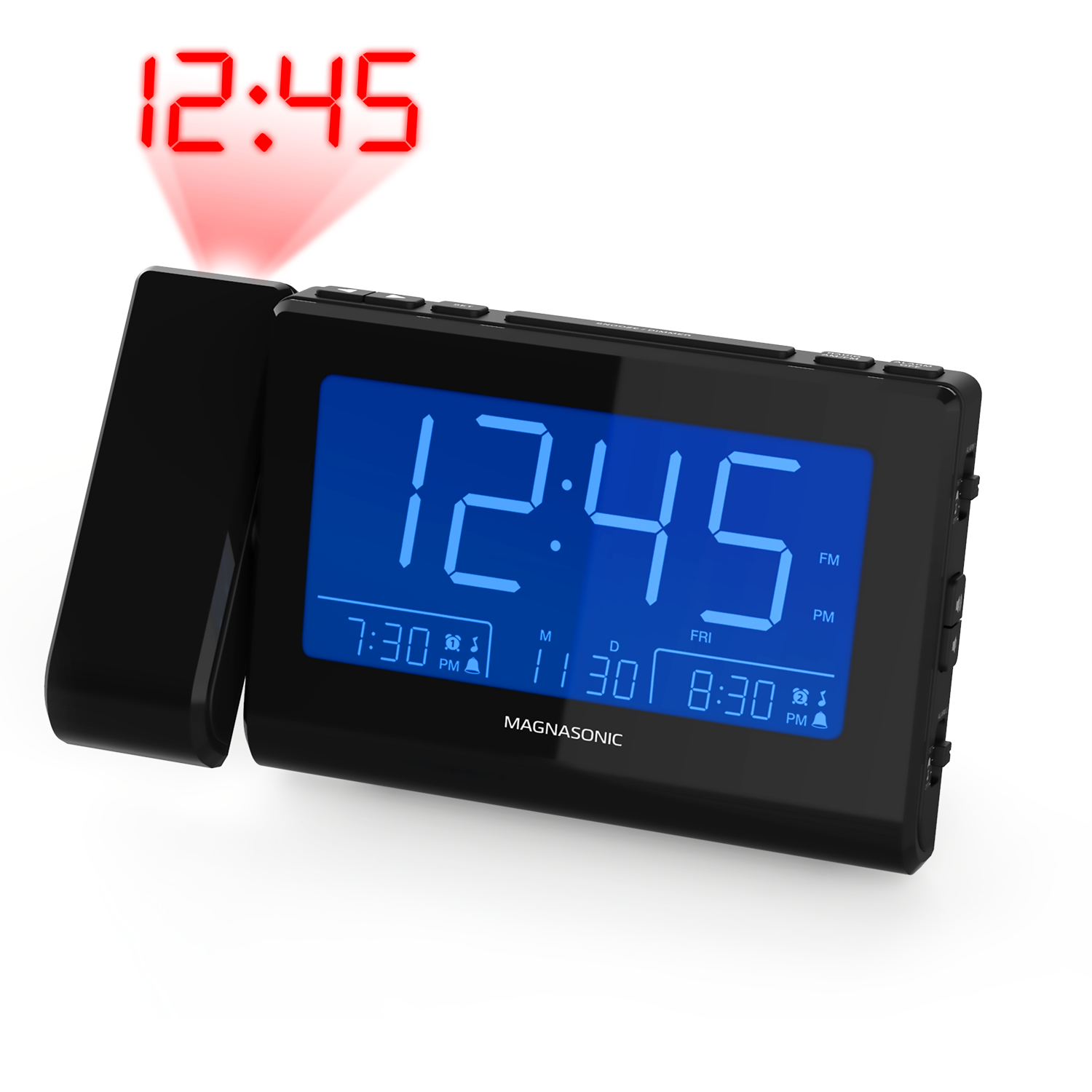 Alarm Clock Radio with USB Charging & Projection