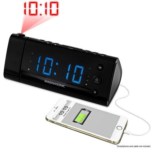 USB Charging Projection Alarm Clock Radio